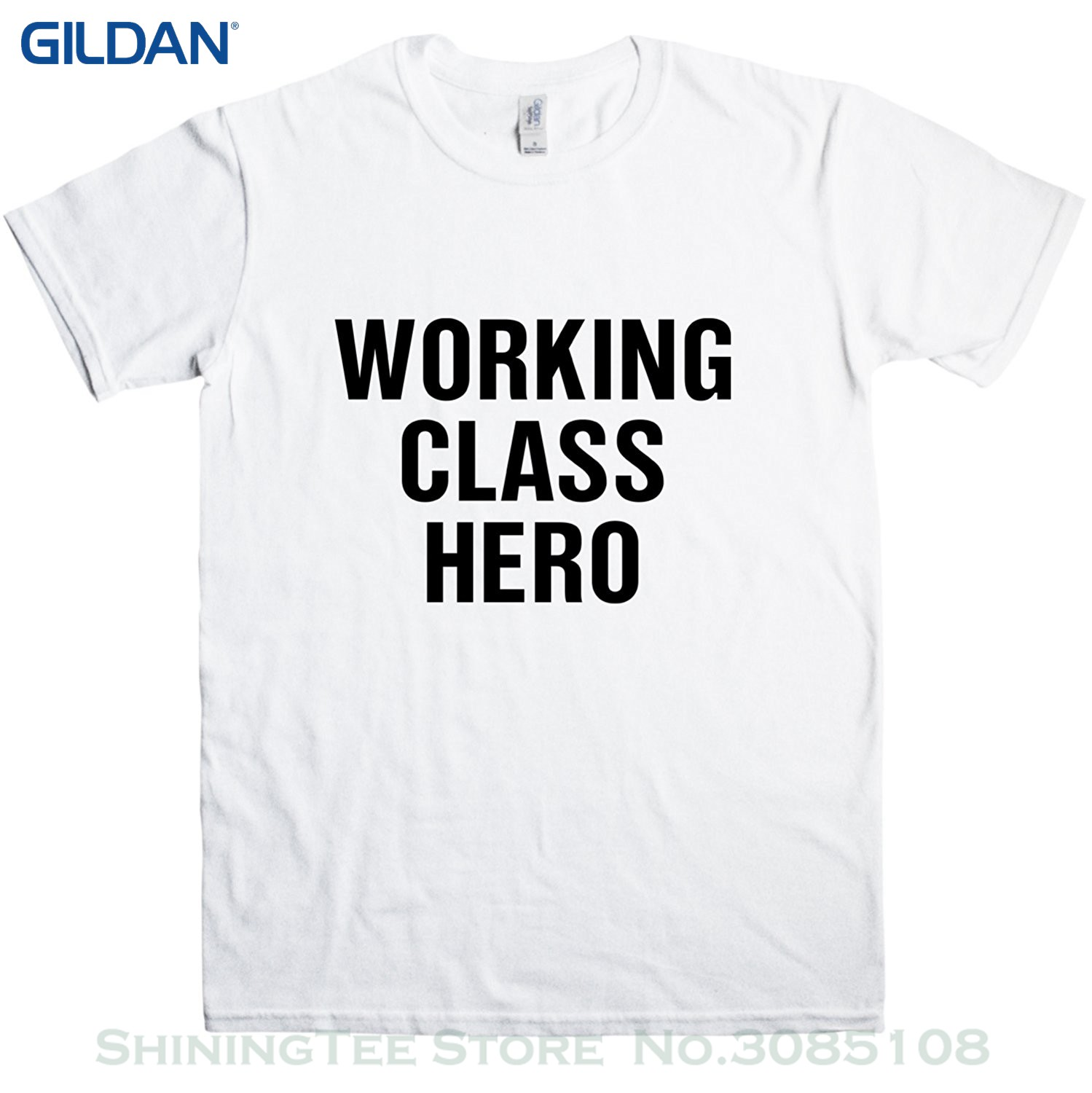 GILDAN New Fashion T Shirt Graphic Letter Mens T Shirt - Working Class Hero Tee - 8ball  ...