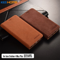 For ASUS Zenfone 4 Max Plus ZC550TL Case KEZiHOME Luxury Matte Genuine Leather Flip Stand Leather