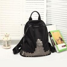 Мода 2016 года/стильный рюкзак школы заклепки Водонепроницаемый нейлоновая сумка черный Цвет для подростков девочек