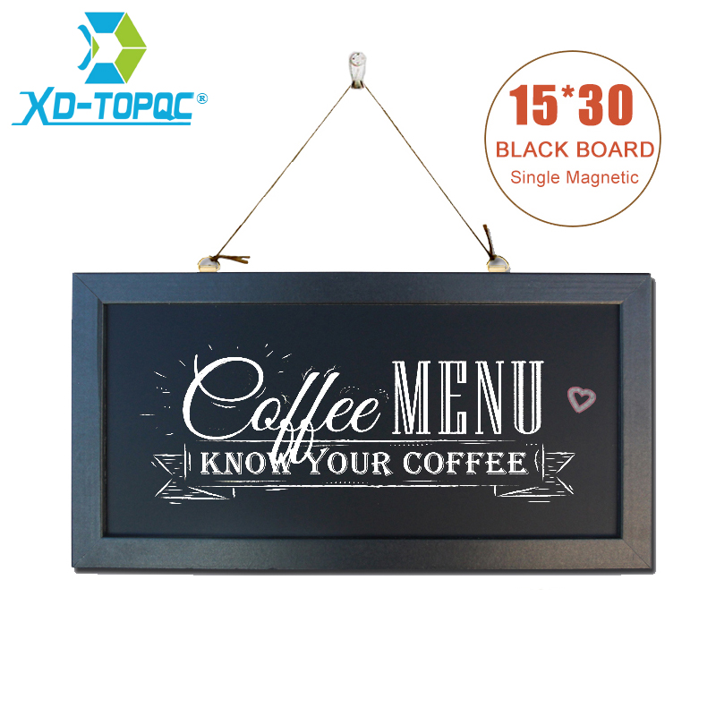 Free shipping Chalkboard New MDF Wood Frame Magnetic Blackboard Dry Wipe Chalkboard Memory Board 15*30cm With Free Accessories dry wipe magnetic 20 30cm whiteboard imitation aluminium plastic frame double sided white memo board wood easel free gift pw01