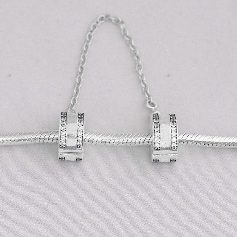 925 breloques en argent Sterling perle ronde chaîne de sécurité en cristal pour Original Pandora 925 Bracelets en argent Sterling Bracelets