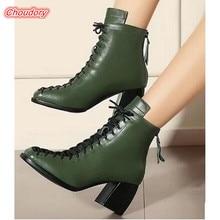 New Fashion font b Women b font Square Toe Winter Boots Med Square Heels Zipper Cross