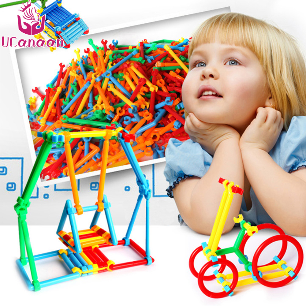 UCanaan DIY Toys For Children Smart Stick Plastic Model Kits Toy Building Puzzel Blacks Assembled Educational Kids Toys Gifts ...