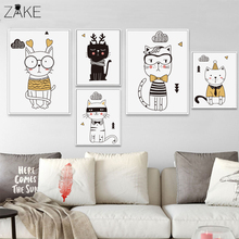 ZAKE Kawaii Cartoon Animals Cat Art Canvas Posters Prints Minimalist Painting Nursery Picture Kids Bedroom Decoration