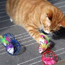Cat Toy Iron Cage Mouse Feather Plush Mouse Cat Toys Interactive Kitten Playing Funny Mice Mouse