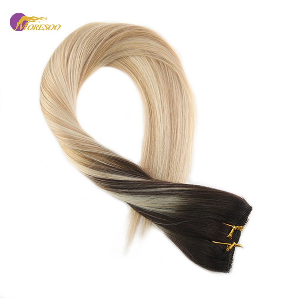 Moresoo Clip In One Piece Remy Human Hair Extensions Double Weft Hair Balayage Ombre Color #2/27/60 3/4 Full Head 50-70Gram