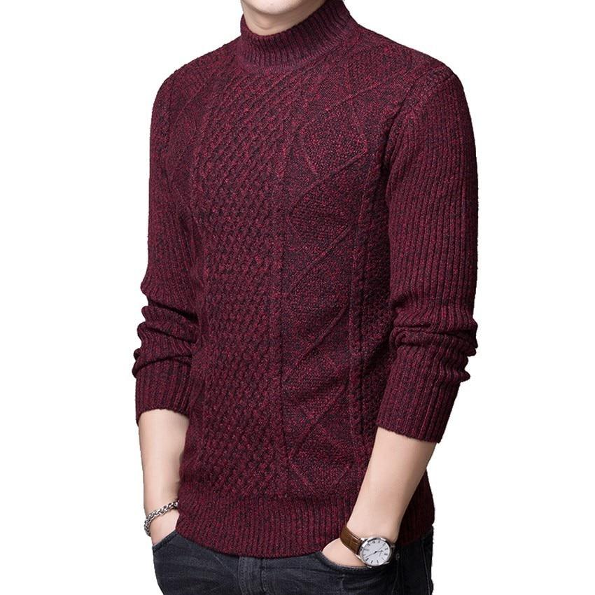 Korean Knitting Sweater Men Fashion Pullover Sweater Male Turtleneck Stripe Slim Fit Knit Mens Sweaters Man Pullover Man
