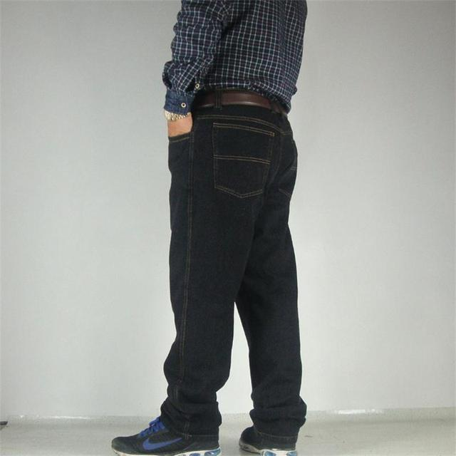 eaa43f0f3185b Free Shipping Men s Plus size loose jeans extra large multi-pocket black  and blue water wash denim pants