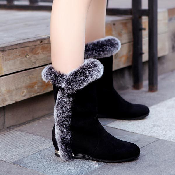 ФОТО New flat heels platform mid-calf boots women snow boots wedge heel suede plush winter shoes woman Padded cotton shoes fur boots