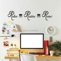 English Words Wall Decals Relax Restore Renew Spa Bathroom Vinyl Wall Stickers Lettering Washroom Decor