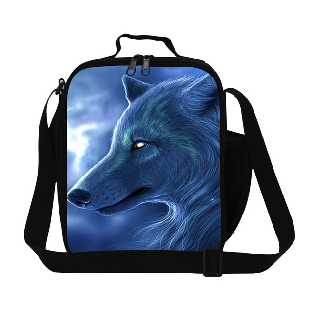 Clear lunch bag with shoulder strap for Children School,Wolf Printed lunch cooler bags for men work boys small meal bag kids