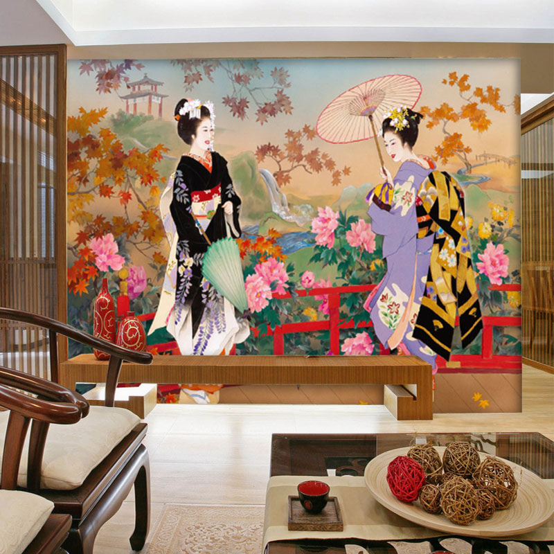 Tuya Art wall mural Japanese style beautiful girl picture for wall