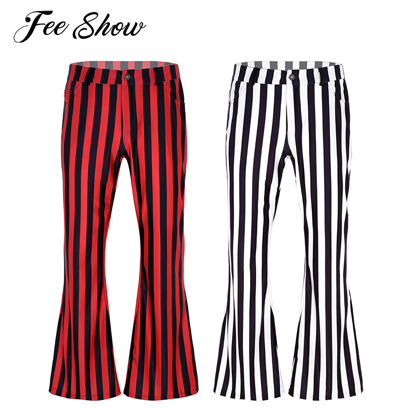 Trousers Club-Wear Stretch-Bell-Bottom Long-Pants 70s Printed Retro Vintage Stripe Mens