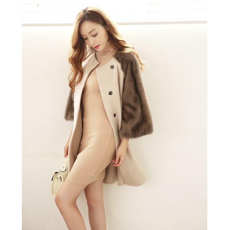 Fashion Women s Double Faced Wool Cashmere Mink Fur Sleeve Coat font b Jacket b font