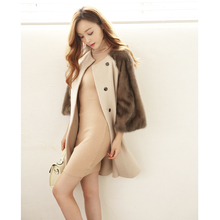 Fashion Women's Double Faced Wool Cashmere Mink Fur Sleeve Coat Jacket Overcoat