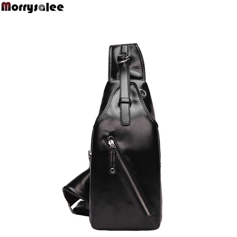 USB Charging Explosion Models Casual Multi-functional PU Men's Chest Bag Shoulder Bag Magnetic Button Open Leather Men's Bags