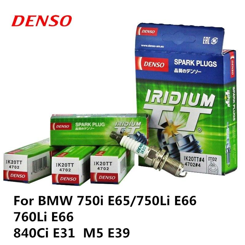 4 pièces/ensemble DENSO Bougie D'allumage De Voiture Pour BMW 750i E65/750Li E66 760Li E66 840Ci E31 M5 E39 Iridium Platine IK20TT