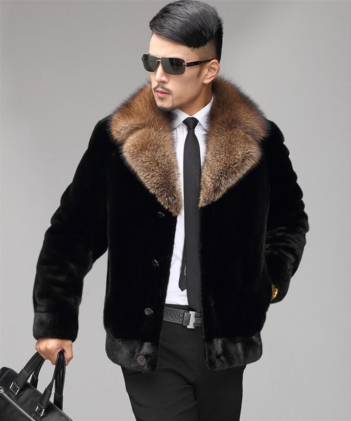 En Jaqueta Cuir Épaissir Couro Hommes Vison D'hiver Homme Faux Noir Vestes De Automne Fourrure Manteau Court Veste Chaud Mode 1XqF1wa