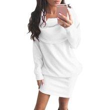 Высокое качество Для женщин Дамы Теплый свитер водолазка Повседневное с длинным рукавом трикотажное платье Мини Топ