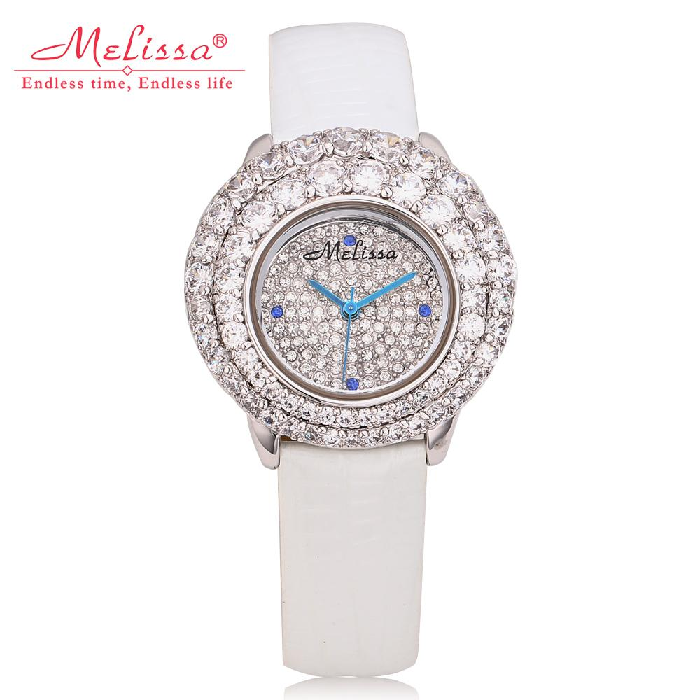 Luxury Palace Stylish Women Starry Watches 100% Real Leather MELISSA Full Crystals Dress Wrist watch Quartz Relogio Montre femme stylish cami full floral women s bodycon dress