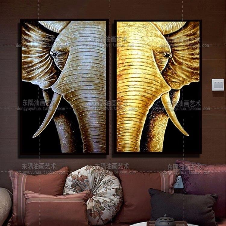Ручная роспись золотой слон дзен украшение комнаты тайский стиль картина маслом на холсте Lindencanvas для гостиной стены