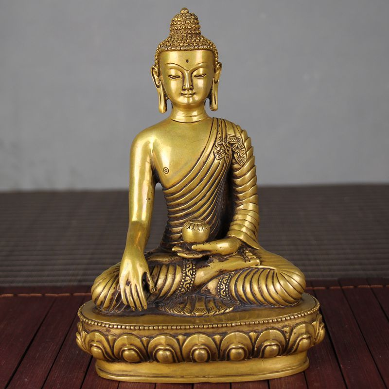 Antique bronze decoration craft old objects Buddha single hand hold pill