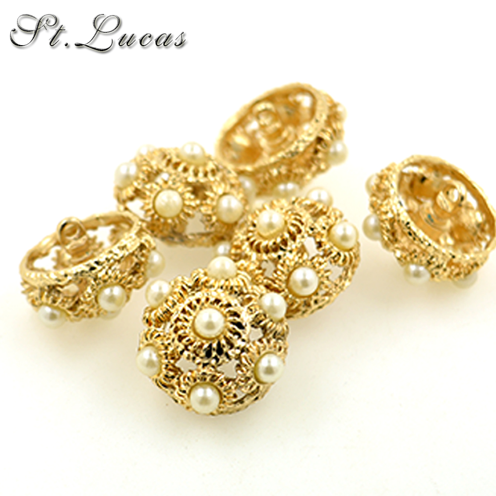 Wholesale 20pcs/lot High Quality New Fashion Decorative Buttons Pearl Crown Gold Buttons For Women Mink Coat Overcot Accessories