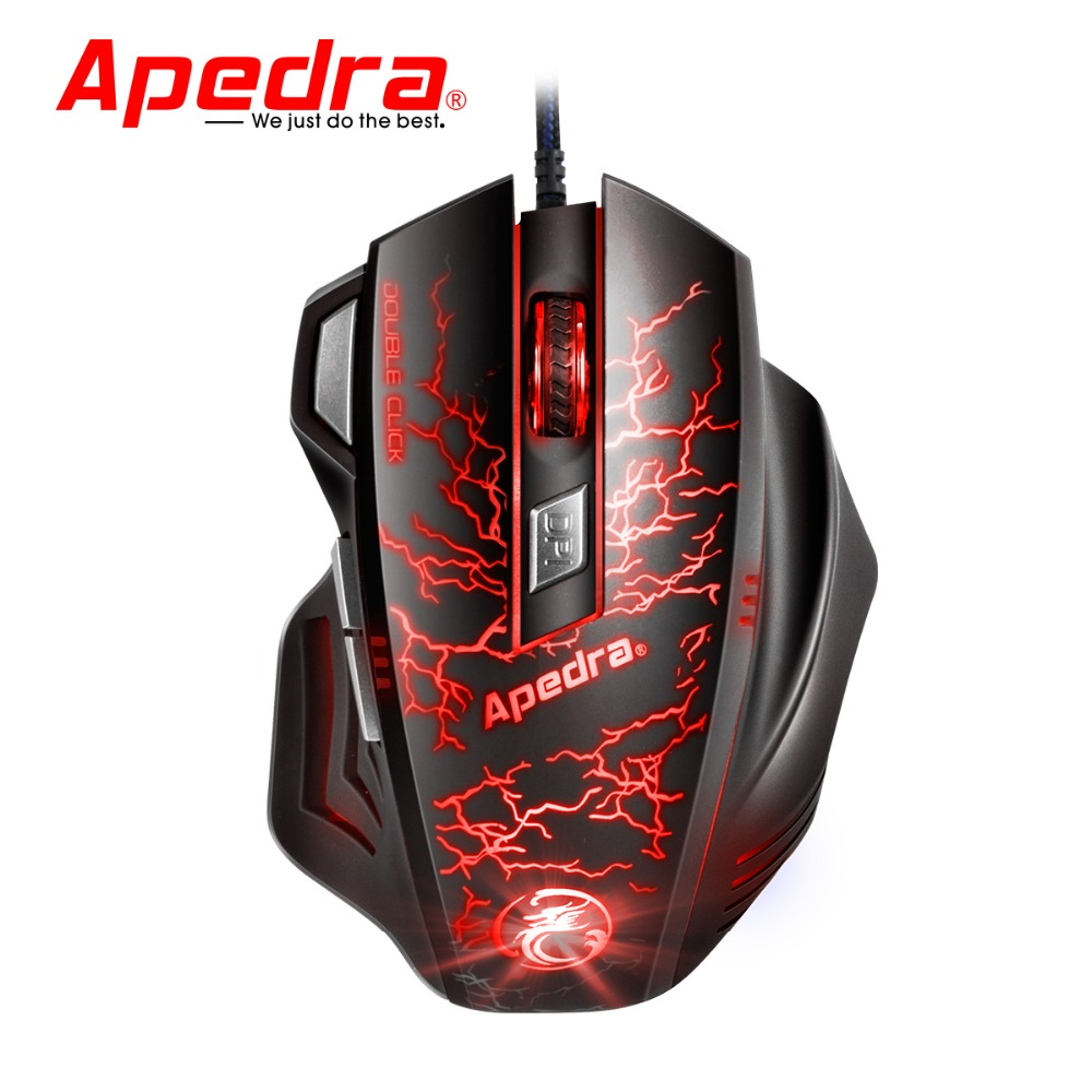 Apedra A7 Wired Gaming Mouse 3200DPI USB Optical Mouse 7 Button Computer Pc Mouse for CS DOTA LOL Gamer Professional Gaming Mice