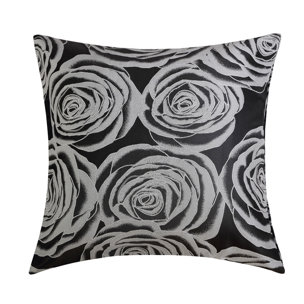 black peony jacquard fabric wholesales pillow cushion blue grey cushion cover floral home decorative 45x45cm