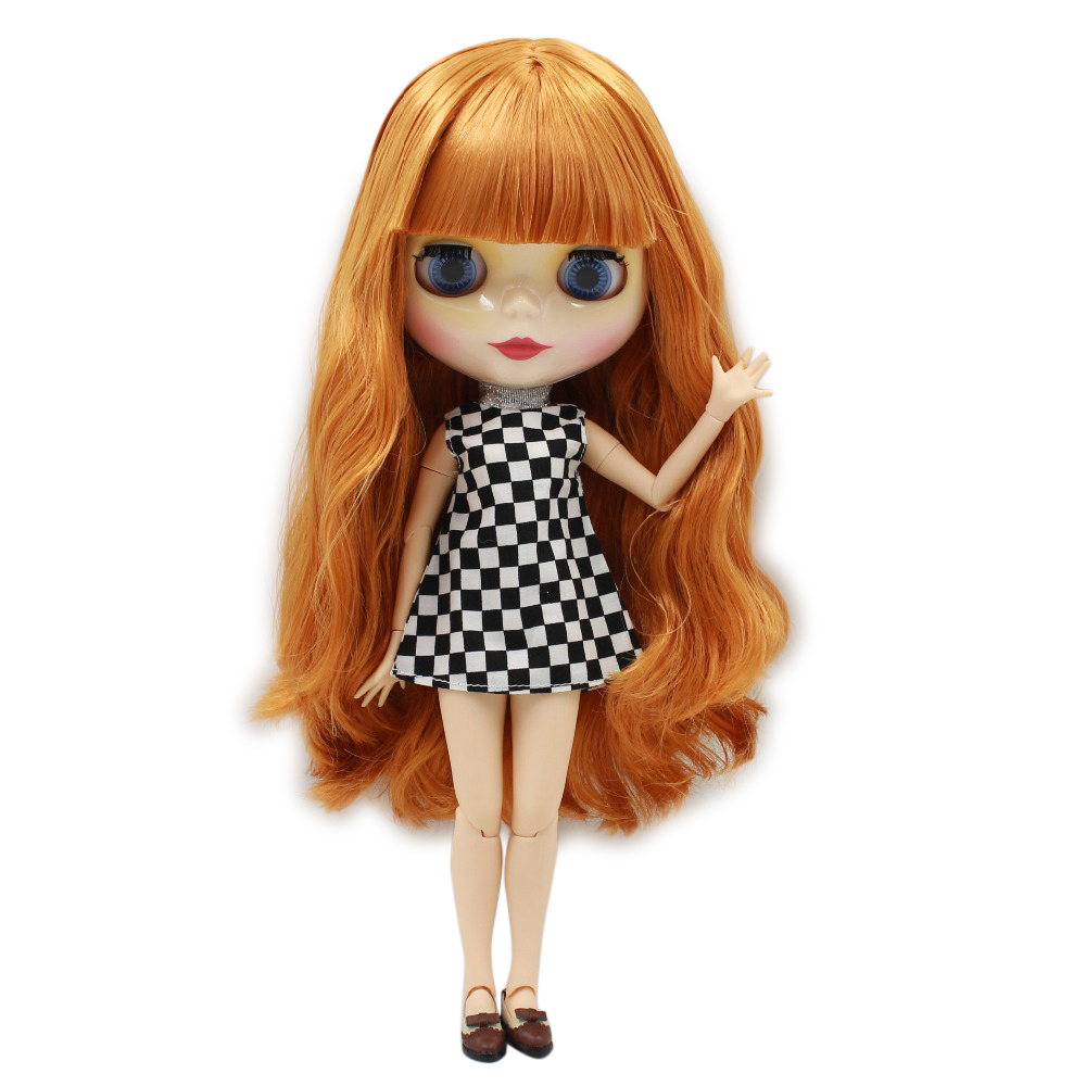 цены free shipping factory blyth doll icy orange hair with bangs/fringes joint body 230BL0145 bjd neo 1/6 30cm
