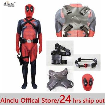 Ainclu الساخن هالوين تأثيري كامل الجسم Deadpool 2 زي الكبار الرقمية طباعة ليكرا زي الاطفال الكبار Deadpool تأثيري zentai