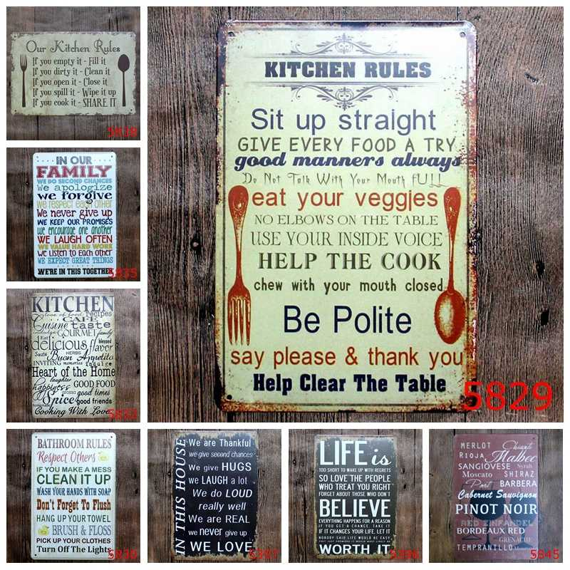 Family Kitchen Rules Metal Signage Vintage Wall Decor Art Painting Plaque  Bar Home Cafe School Romantic Retro Tin Signs YN036