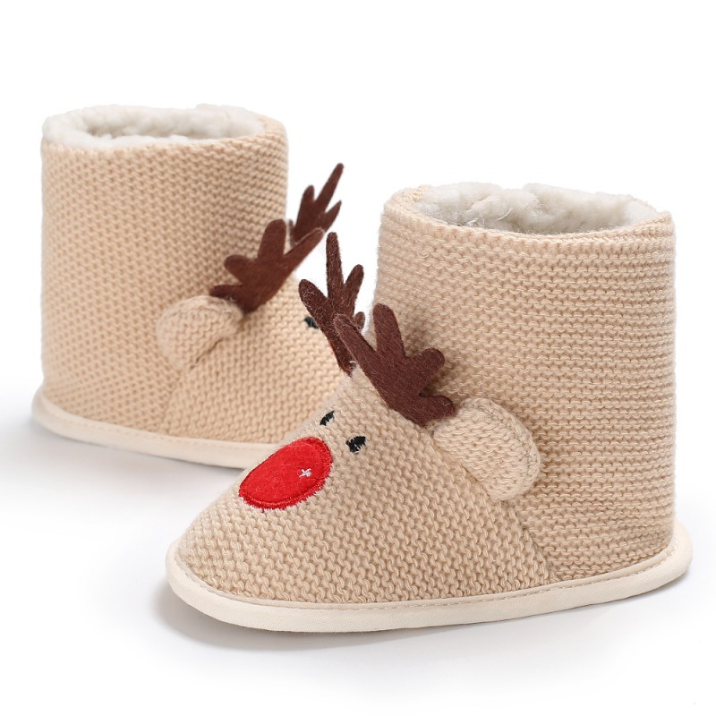 Christmas Deer Baby Newborn Lovely Shoes First Walkers Baby Boy Shoes Wool Boots For 0-18 Month Winter Warm