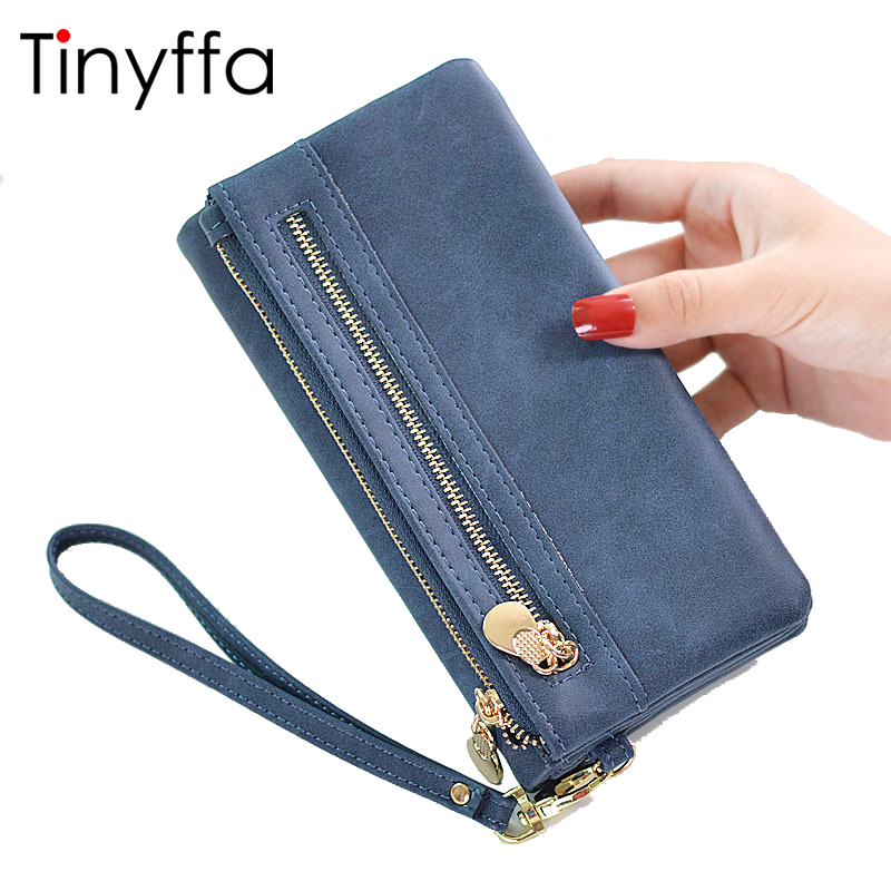 Tinyffa Nubuck Leather Wallet Women Coin Purse Female Credit Card Holder Money Bags For Women 2017 Walet Cell Phone Wallet Long magnit rmm 2222