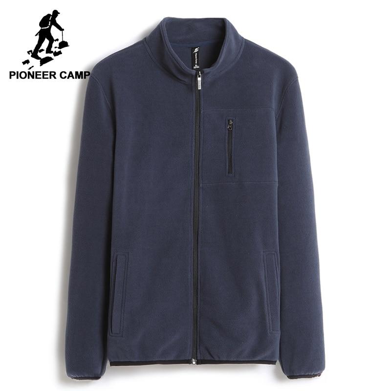 Pioneer Camp Warm Sweatshirts Men Brand-clothing Solid Fleece Zipper Hoodies Male Top Quality Dark Blue AJK702388