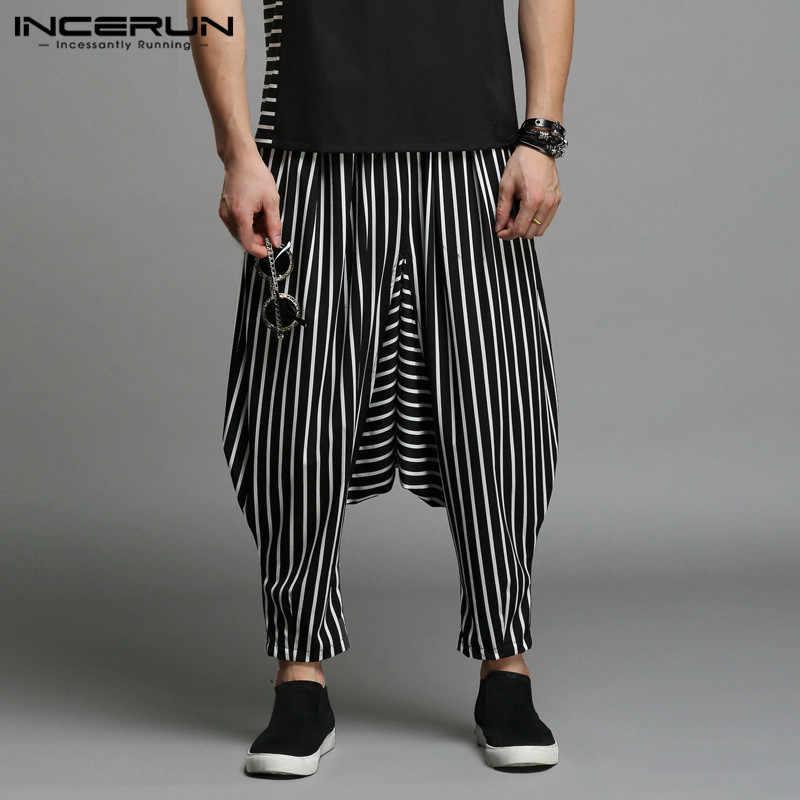 INCERUN японский стиль S-5XL кросс-брюки мужские нерегулярные полосатые шаровары с лоскутками мужские брюки большой мужской капля промежности ПЛЮС Танец