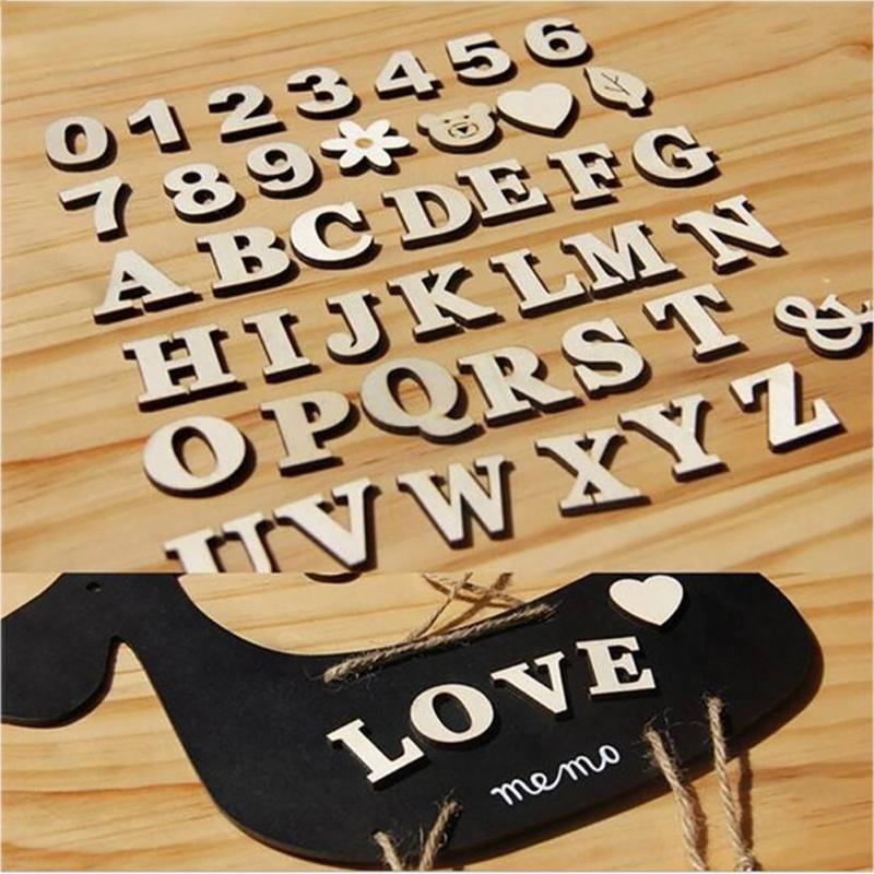 Digital Letter Pattern Wooden Digital Self-adhesive Stickers Craft 3D Scrapbooking Home Holiday Store Decoration