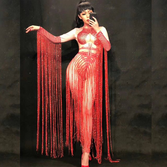 Customize Sexy Dance Red Long Tassel Clothing Jazz Wear Women Performance Costumes Dj Singer Stage Clothes Party Outfit QNY470