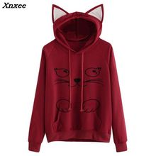 Women Casual Hoodies Sweatshirt Long Sleeve Hoody Cat Ears I AM CAT Printed Hoodies Tracksuit Jumper Female Outerwear Xnxee i am a cat plaid insert sweatshirt