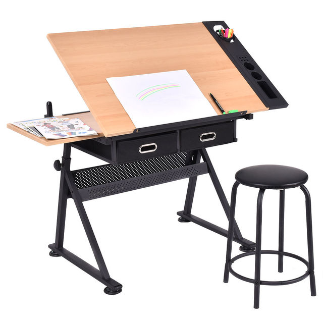 Giantex Adjustable Drafting Table Set Modern Art Craft Drawing Desk Art  Hobby With Stool And Drawers