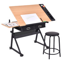 Giantex Adjustable Drafting Table Set Modern Art Craft Drawing Desk Art Hobby with Stool and Drawers Draw Furniture HW52822