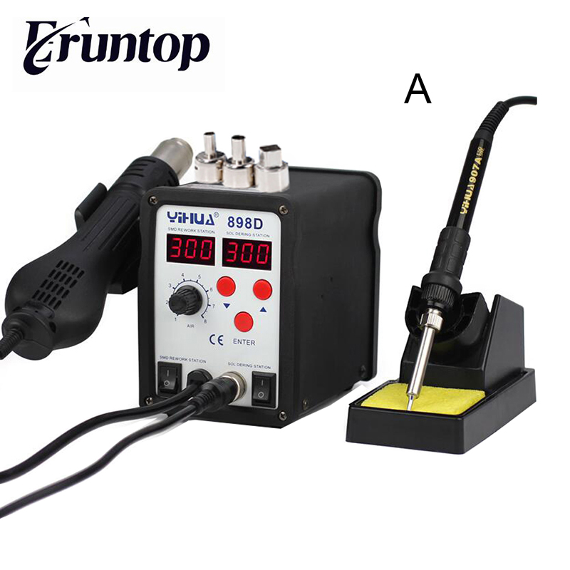 SMD YIHUA 898D Hot Air Gun Station Soldering With Iron Soldering Station Digital Rework Station цены