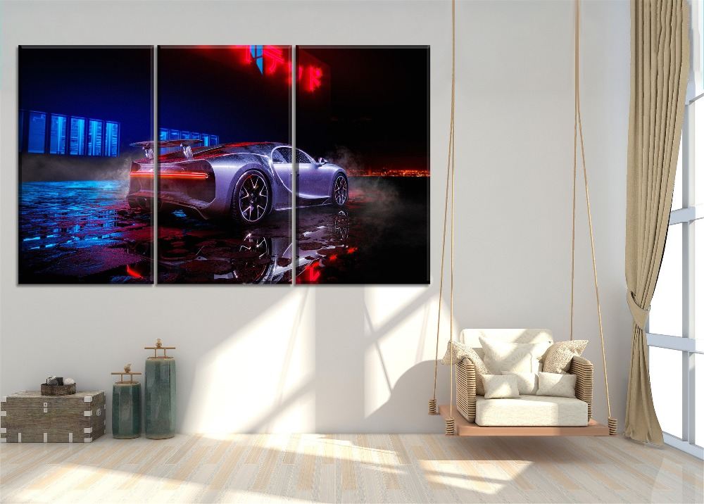 Modern Popular Wall Decor Style Painting 3 Panel Modular Combinatorial Art Neon lights Bugatti Chiron Poster Canvas Print Type in Painting Calligraphy from Home Garden