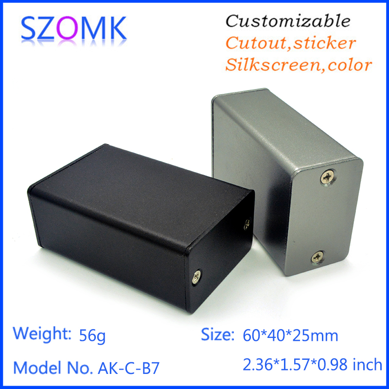 1 piece, 25*40*60mm szomk small aluminum extrusion enclosure project box  aluminum box electronics enclosure for pcb housing 1 piece free shipping szomk electronics case aluminum extrusion enclosure 28 h x122w x100l mm