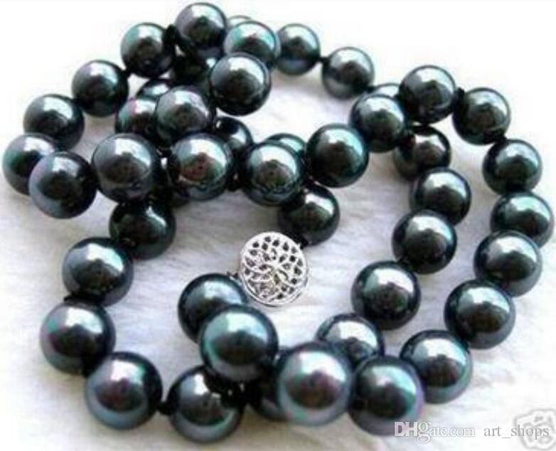 New 8mm Black South Sea Shell Pearl Necklace 18 AAA free shipping >Dongguan girl jewerly Store free shipping