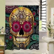Новинка 2017 года мультфильм Цветной череп Дизайн пользовательские занавеска для ванной Водонепроницаемый mildewproof полиэстер ткань