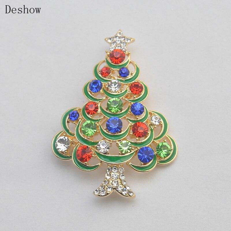 Рождественской елки Зеленый Эмаль Брошь Шпильки воротник клип горный хрусталь Модные украшения Броши Best Подарки на Новый год для людей