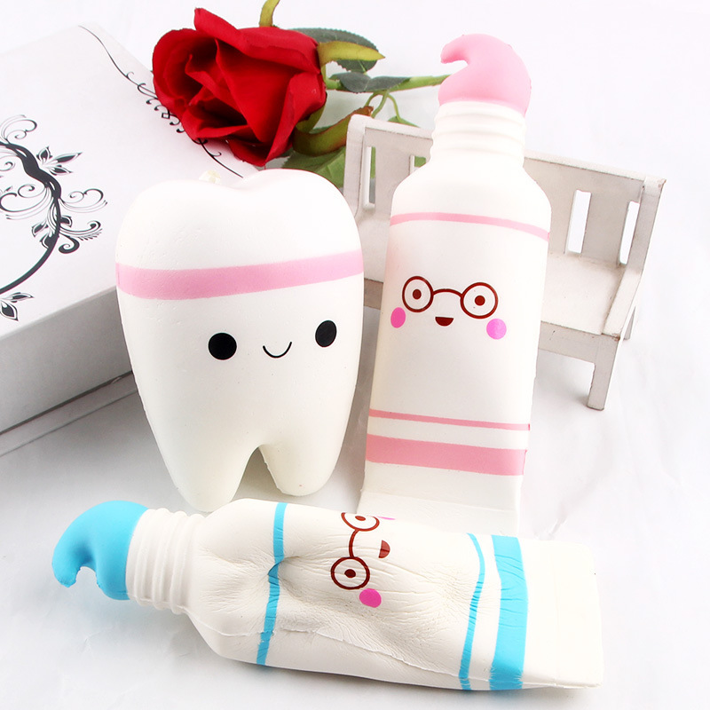 Cute Cartoon Tooth Pendant Squish Toy Squishies Slow Rising Toothpaste Soft Squeeze Cute Stretchy Toy Gift Wholesale
