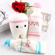 Cute Cartoon Tooth Pendant Squish Toy Squishies Slow Rising Toothpaste Soft Squeeze Cute Stretchy Toy Gift Wholesale(China)