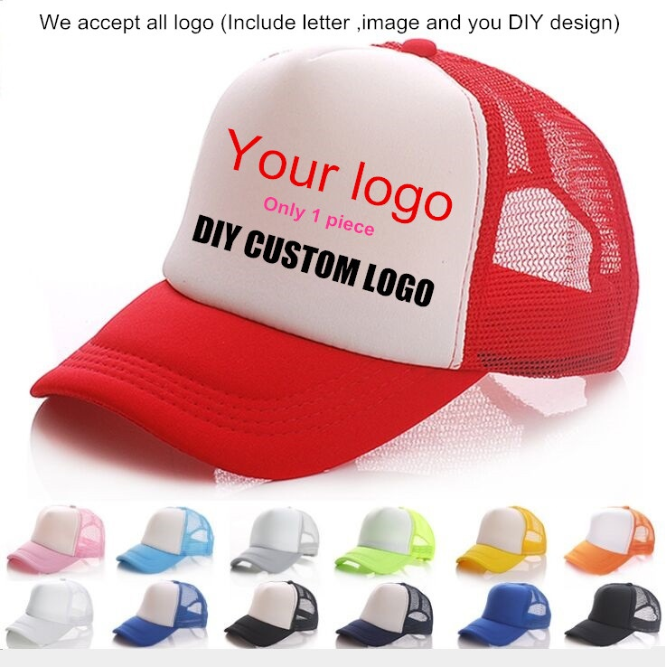 New 1 Piece OEM ODM Custom Logo Advertising breathable Mesh Snapbacks Trucker Hats Adult Casual Adjustable   Baseball     Cap   Gorros